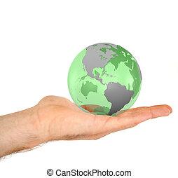 pianeta, 3d, presa a terra, maschile, mano