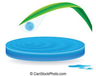 pianeta, acqua, dentro, goccia, onde