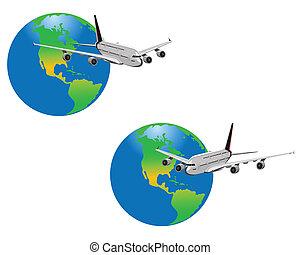 pianeta, aeroplano