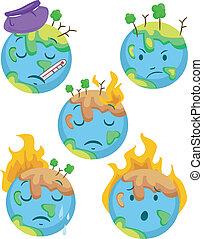 pianeta, ammalato, icone