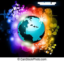 pianeta, arcobaleno, astratto, fondo, volantini