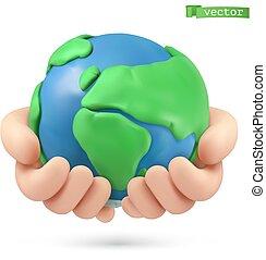 pianeta, arte, terra, fatto mano, plasticine, vettore, icon., 3d, object., illustrazione, mani