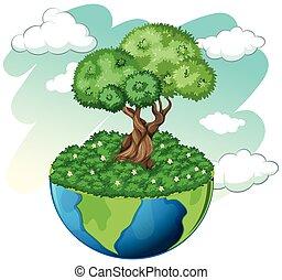 pianeta blu, albero, verde