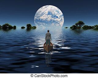 pianeta blu, barca, orizzonte, uomo
