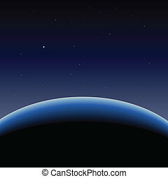 pianeta blu, orizzonte, terra