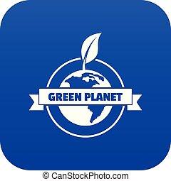 pianeta, blu, vettore, verde, icona