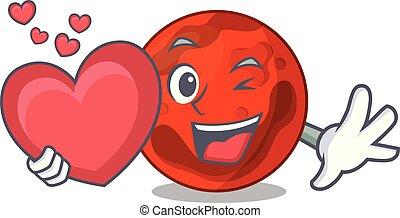 pianeta, cuore, mascotte, cartone animato, marte