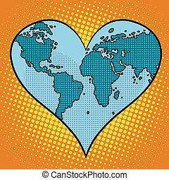 pianeta, cuore, terra