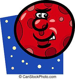 pianeta, divertente, cartone animato, illustrazione, marte
