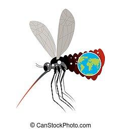 pianeta, earth., stand-alone, grande, overtook, zanzara, zika., epidemia, malattia, bianco, fondo., grande, insect., terribile, virus, pancia