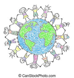 pianeta, felice, bambini, bambini, earth., intorno, drawing.