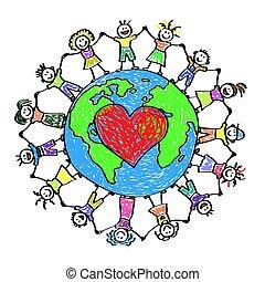 pianeta, felice, bambini, earth., intorno