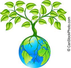pianeta, globo, terra, albero