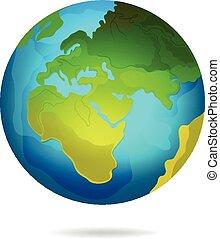 pianeta, icona, terra, vettore