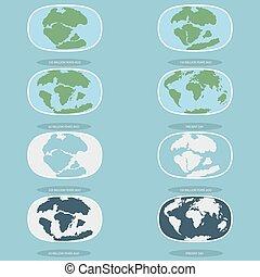 pianeta, icone, stile, tettonico, continenti, earth., moderno, piastre, set, infographics, appartamento