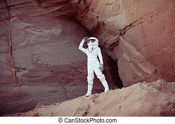 pianeta, immagine, effetto, astronauta, un altro,...