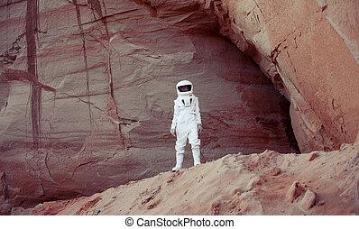 pianeta, immagine, effetto, astronauta, un altro, futuristico, intonando