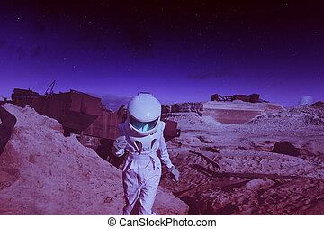 pianeta, immagine, effetto, mars., astronauta, un altro, futuristico, intonando