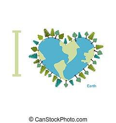 pianeta, innamorato, amore, alberi., illustrazione, day., vettore, terra, earth.