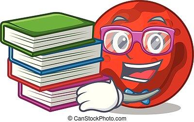 pianeta, libro, studente, marte, cartone animato, mascotte