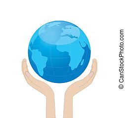 pianeta, mani, terra