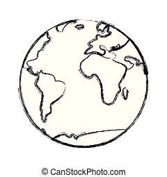 pianeta, mappa mondo, icona
