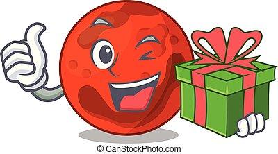 pianeta, mascotte, cartone animato, regalo, marte