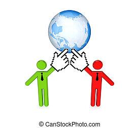 pianeta, persone, terra, 3d, piccolo