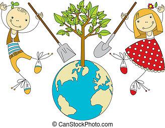 pianeta, pianta, bambini