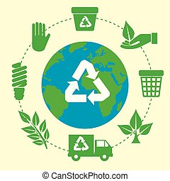 pianeta, riciclare, ecologia, segno terra
