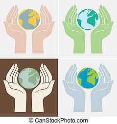 pianeta, risparmiare, icone