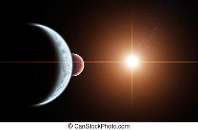 pianeta, sole, salita, allineamento