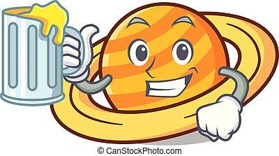 pianeta, succo, mascotte, saturnus, cartone animato