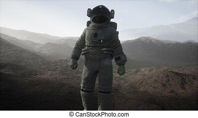 pianeta, un altro, polvere, nebbia, astronauta