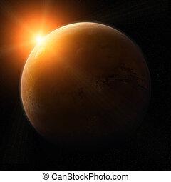 pianeta, vista, marte