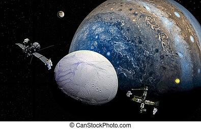 pianeta, zeus, relativo, lune