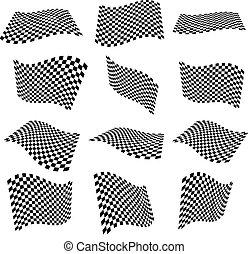 piani, checkered, surfaces., superficie, ondeggiare, 3d, bandiere