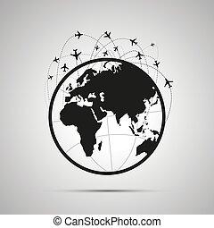 piani, tracce, nero, aereo, cielo, sopra, icona, globo mondo, semplice, mappa, lotto