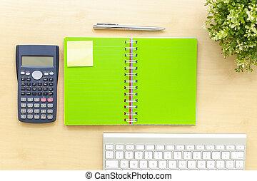 pianificatore, cima, libro, tavola, vista., promemoria