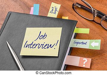 pianificatore, -, nota appiccicosa, intervista lavoro