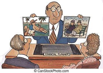 pianificatore, pensionamento, finanziario