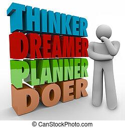 pianificatore, persona, pensare, creatività, pensatore, immaginazione, chi fa, esecuzione, sognatore