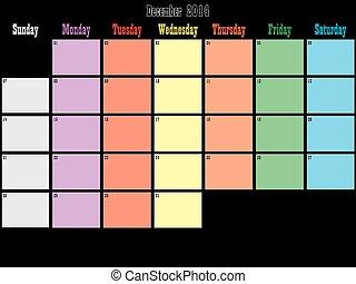 pianificatore, spazio, colorare, dicembre, giorni, nero, ...