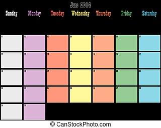 pianificatore, spazio, colorare, grande, giugno, giorni, ...