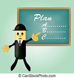 pianificazione, affari, indicare, uomo