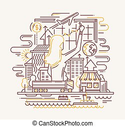Pianificazione, appartamento, diagramma, processo, donna, disegno, linea, bandiera, disegno