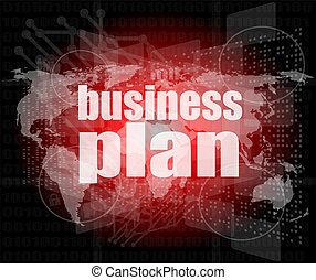 pianificazione aziendali, su, digitale, schermo tocco, interfaccia