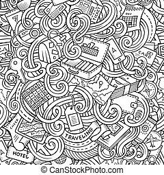 pianificazione, modello, doodles, cartone animato, seamless...