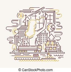 pianificazione, processo, linea, appartamento, disegno, bandiera, con, donna, disegno, diagram.