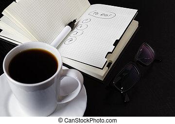 pianificazione, sopra, uno, tazza caffè